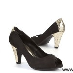 Wide Fit Black Glitter Panel Court Shoes