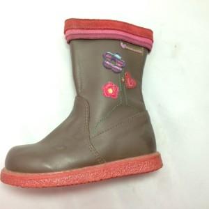 Boot nữ VNXK AGATHA gót bệt cổ cao màu nâu TE085.NA.23