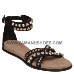 Dép sandal bệt nữ VNXK TWIST màu đen X58